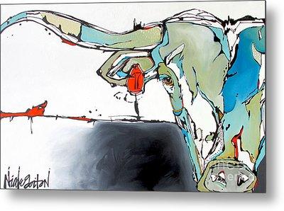 Number 17 Longhorn Steer Metal Print by Nicole Gaitan