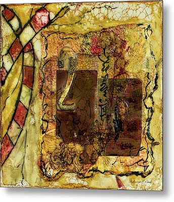Metal Print featuring the mixed media Number 2 Encaustic Collage by Bellesouth Studio