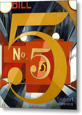Number 5 In Gold Metal Print by Pg Reproductions