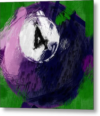 Number Four Billiards Ball Abstract Metal Print by David G Paul