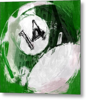 Number Fourteen Billiards Ball Abstract Metal Print by David G Paul
