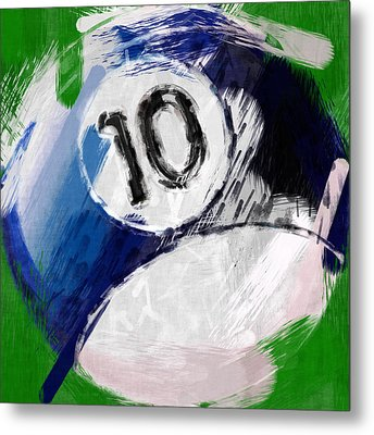 Number Ten Billiards Ball Abstract Metal Print by David G Paul