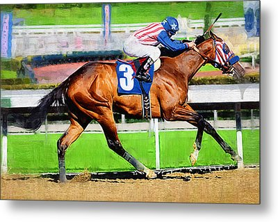 Number Three Horse Metal Print by Clarence Alford