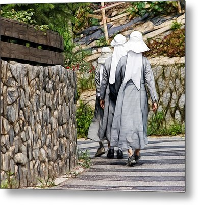 Nuns In A Row Metal Print by Cameron Wood