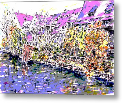 Nuremberg Northern Riverside Of Pegnitz Pop Art Series Metal Print