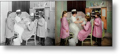Metal Print featuring the photograph Nurse - Playing Nurse 1918 - Side By Side by Mike Savad
