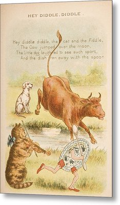 Nursery Rhyme And Illustration Of Hey Metal Print by Vintage Design Pics