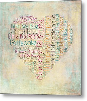 Nursery Rhymes Heart Metal Print by Brandi Fitzgerald