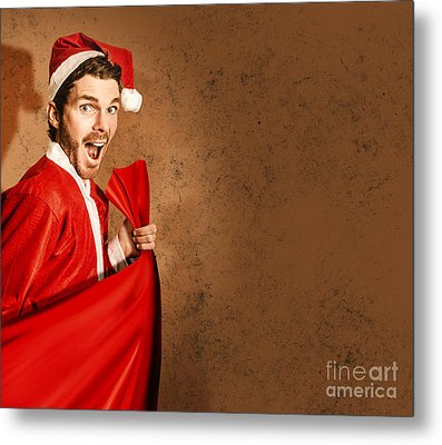 Nutty Santa In A Mad Rush Shopping Spree Metal Print by Jorgo Photography - Wall Art Gallery