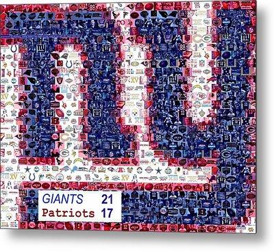 Ny Giants Super Bowl Mosaic Metal Print by Paul Van Scott