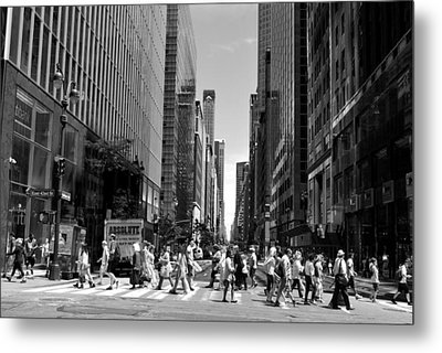 Nyc 42nd Street Crosswalk Metal Print
