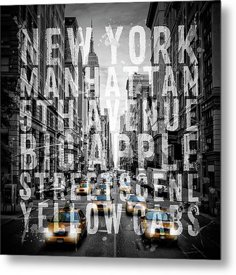 Nyc 5th Avenue Traffic Typography II Metal Print by Melanie Viola