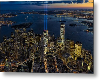 Nyc 911 Tribute In Lights Metal Print by Susan Candelario