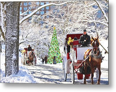 Festive Winter Carriage Rides Metal Print
