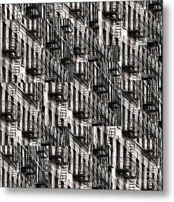 Nyc Fire Escapes Metal Print by Edward Fielding