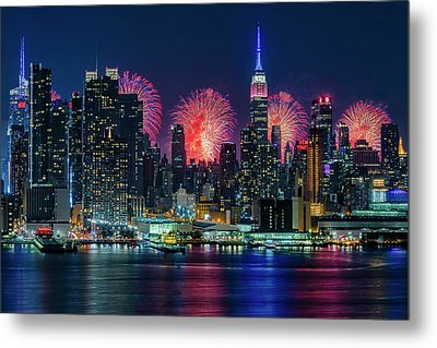 Nyc Fireworks Celebration Metal Print