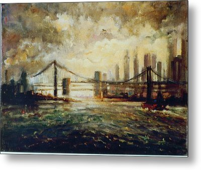 Metal Print featuring the painting Nyc Harbor by Walter Casaravilla