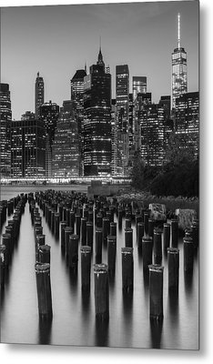 Metal Print featuring the photograph Nyc Skyline Bw by Laura Fasulo
