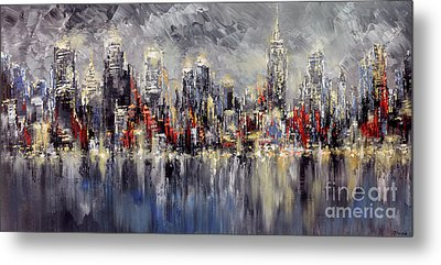 Nyc Lights Metal Print