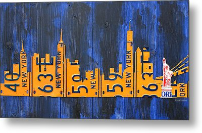Nyc New York City Skyline With Lady Liberty And Freedom Tower Recycled License Plate Art Metal Print by Design Turnpike