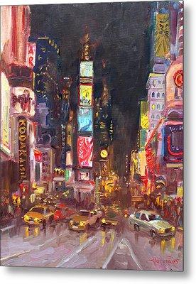 Nyc Times Square Metal Print by Ylli Haruni