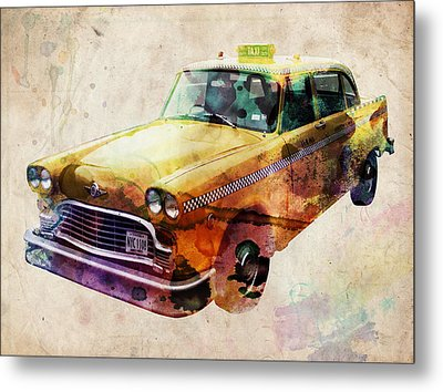 Nyc Yellow Cab Metal Print by Michael Tompsett