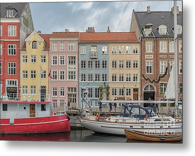 Metal Print featuring the photograph Nyhavn Waterfront In Copenhagen by Antony McAulay