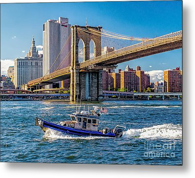 Nypd On East River Metal Print by Nick Zelinsky