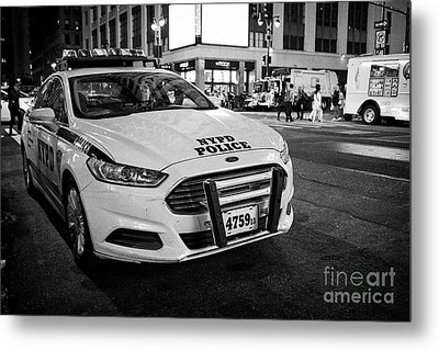nypd police patrol car at night New York City USA Metal Print