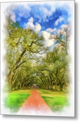 Oak Alley 7 - Paint Vignette Metal Print by Steve Harrington