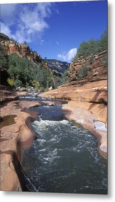 Oak Creek Flowing Through The Red Rocks Metal Print by Rich Reid