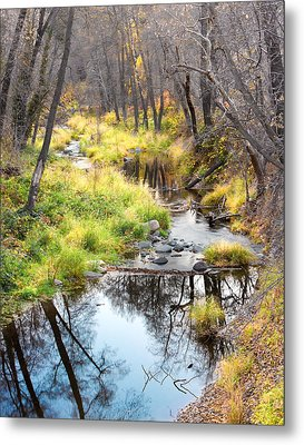 Oak Creek Twilight Metal Print by Carl Amoth