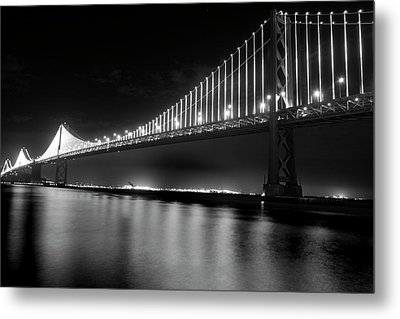 Metal Print featuring the photograph Oakland Bay Bridge At Night by Darcy Michaelchuk
