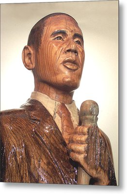 Obama In A Red Oak Log - Up Close Metal Print by Robert Crowell