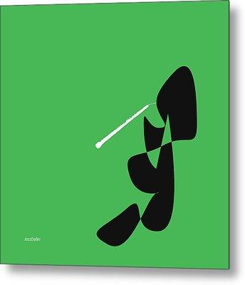 Oboe In Green Metal Print by David Bridburg