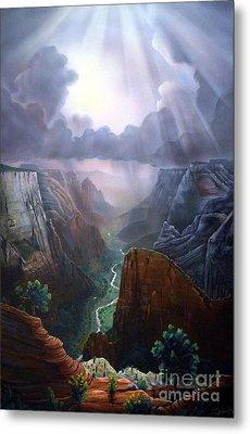 Observation Point Zion Metal Print by Jerry Bokowski