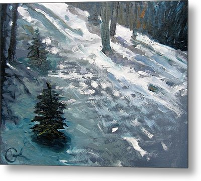 Metal Print featuring the painting Observing Snow by Gary Coleman