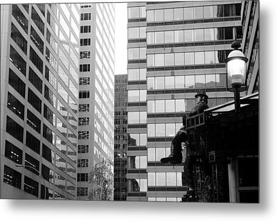 Metal Print featuring the photograph Observing The City by Valentino Visentini