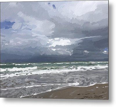 Ocean And Clouds Over Beach At Hobe Sound Metal Print