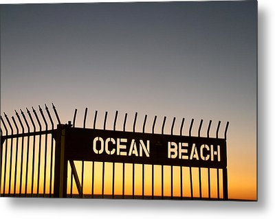 Ocean Beach Pier Gate Metal Print by Christopher Woods