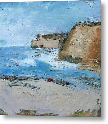 Metal Print featuring the painting Ocean Cliffs by Gary Coleman