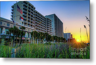 Ocean Drive Sunrise North Myrtle Beach Metal Print by David Smith