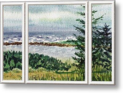 Ocean Shore Window View Metal Print by Irina Sztukowski