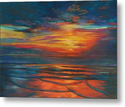 Ocean Sunrise Metal Print by Karen Kennedy Chatham