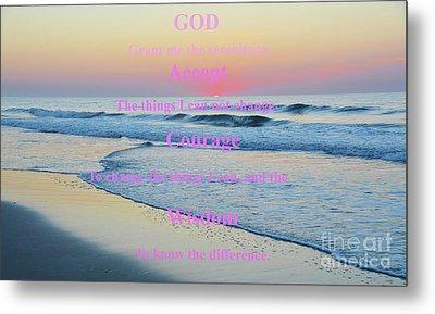 Ocean Sunrise Serenity Prayer Metal Print by Robyn King
