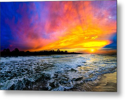 Metal Print featuring the photograph Ocean Sunset Landscape Photography Red Blue Sunset by Eszra Tanner
