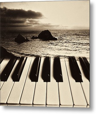 Ocean Washing Over Keyboard Metal Print by Garry Gay