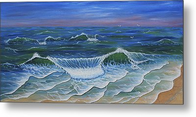 Metal Print featuring the painting Ocean Waves Dance At Dawn Original Acrylic Painting by Georgeta Blanaru