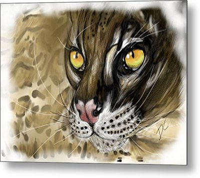 Metal Print featuring the digital art Ocelot by Darren Cannell