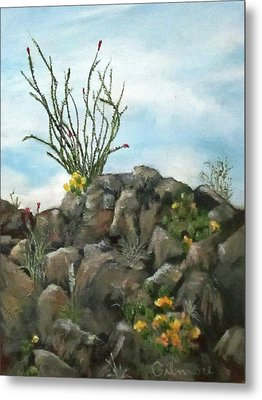 Metal Print featuring the painting Ocotillo In Bloom by Roseann Gilmore